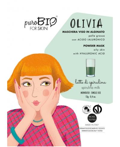 Alginátová maska na zmiešanú až mastnú pleť OLIVIA - spirulina milk PuroBIO